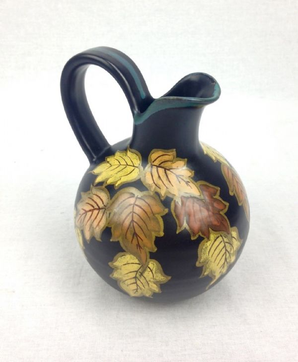 Gouda Pottery Vase Jug 1930's / 40's Black - Yellow - Orange Leaf Design Dutch